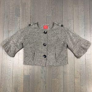 ELLE Grey Wool Crop 3/4 Sleeve Jacket Coat Blazer
